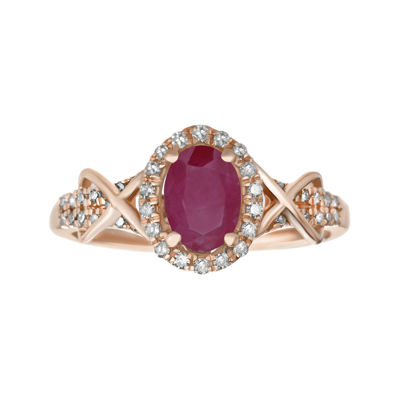 1/4 CT. T.W. Diamond and Lead Glass-Filled Ruby 10K Rose Gold Ring