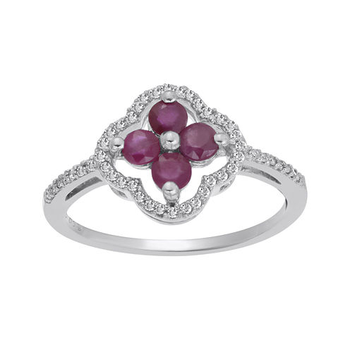 Lead Glass-Filled Ruby and 1/8 CT. T.W. Diamond 10K White Gold Flower Ring