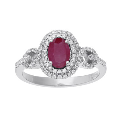 Lead Glass-Filled Ruby and 1/3 CT. T.W. Diamond 10K White Gold Oval Halo Ring