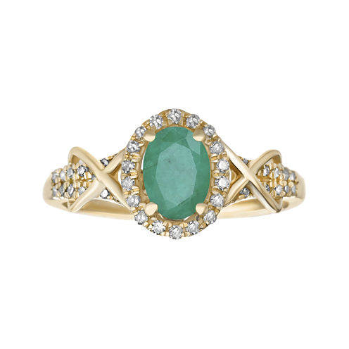 1/4 CT. T.W. Diamond and Genuine Emerald 10K Yellow Gold Ring