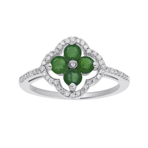 Genuine Emerald and 1/8 CT. T.W. Diamond 10K White Gold Flower Ring