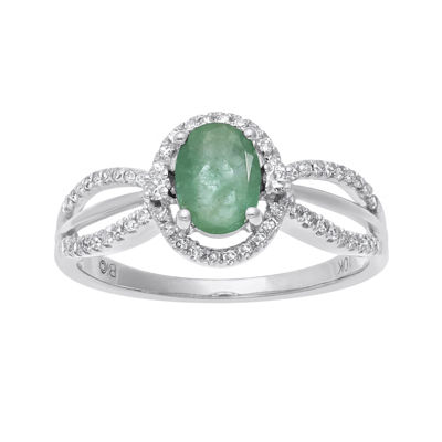 Genuine Emerald and 1/5 CT. T.W. Diamond 10K White Gold Oval Ring