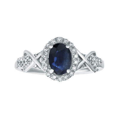 1/4 CT. T.W. Diamond and Genuine Sapphire 10K White Gold Ring
