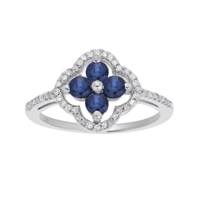 1/8 CT. T.W. Diamond and Genuine Sapphire 10K White Gold Flower Ring