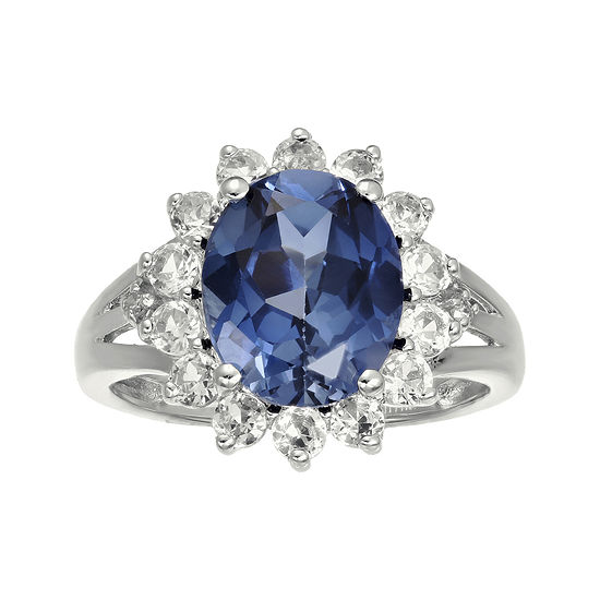 Lab-Created Blue and White Sapphire Sterling Silver Starburst Ring
