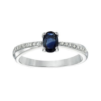 Genuine Sapphire and Diamond-Accent Sterling Silver Oval Ring
