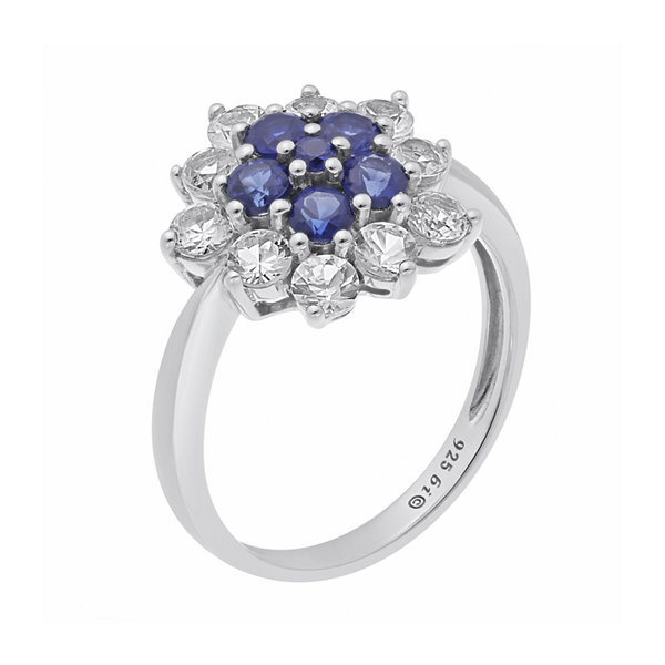 Lab-Created Blue and White Sapphire Cluster Sterling Silver Floral Ring
