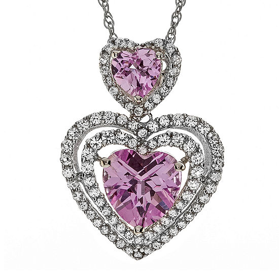 Lab Created Pink White Sapphire Sterling Silver Double Heart Pendant Necklace
