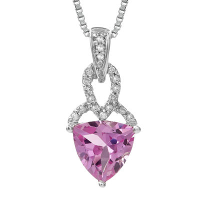 Lab-Created Pink Sapphire and Diamond-Accent Sterling Silver Drop Pendant Necklace