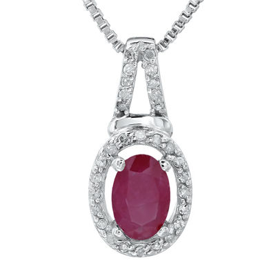 1/10 CT. T.W. Diamond and Lead Glass-Filled Ruby 10K White Gold Oval Drop Pendant Necklace