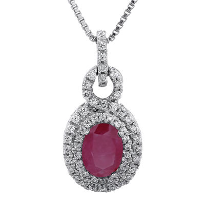 1/3 CT. T.W. Diamond and Lead Glass-Filled Ruby Oval Drop Pendant Necklace