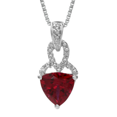 Lab-Created Ruby and Diamond-Accent Sterling Silver Pendant Necklace
