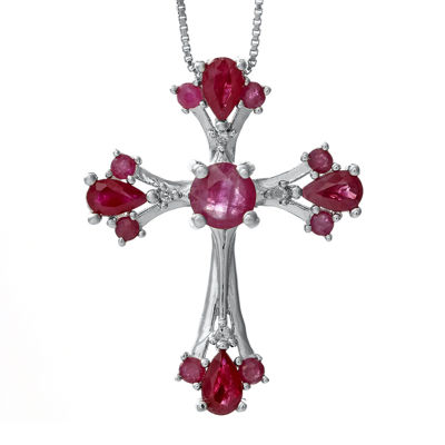 Lead Glass-Filled Ruby and Diamond-Accent Cross Pendant Necklace