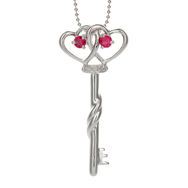 Lab-Created Ruby and Diamond-Accent Double-Heart and Key Pendant Necklace