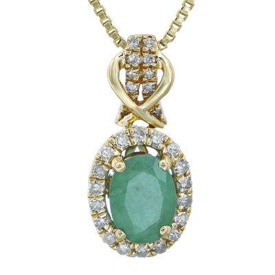 1/7 CT. T.W. Diamond and Genuine Emerald 10K Yellow Gold Drop Pendant Necklace