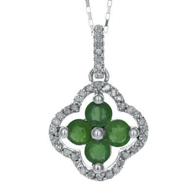 1/8 CT. T.W. Diamond and Genuine Emerald 10K White Gold Flower Pendant Necklace