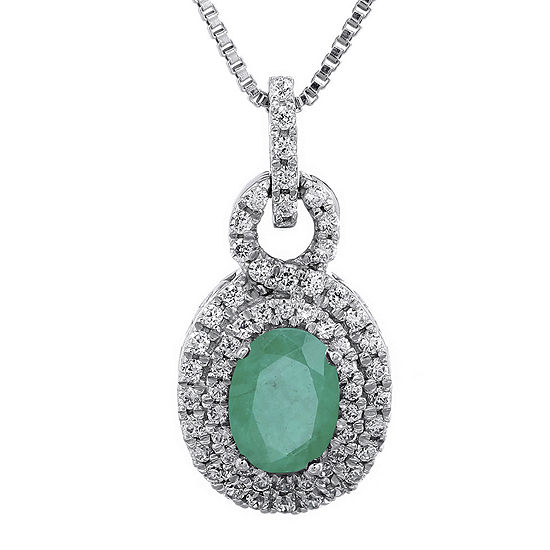 1/3 CT. T.W. Diamond and Genuine Emerald 10K Gold Oval Drop Pendant Necklace