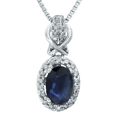 1/7 CT. T.W. Diamond and Genuine Sapphire 10K White Gold Drop Pendant Necklace