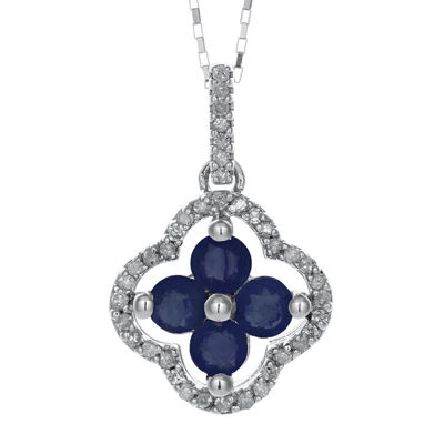 1/8 CT. T.W. Diamond and Genuine Sapphire 10K White Gold Flower Pendant Necklace