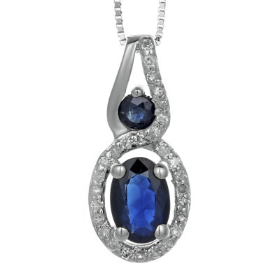 Genuine Sapphire and Diamond-Accent 10K White Gold Double-Drop Pendant Necklace