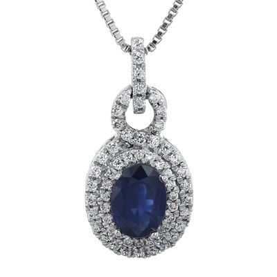 1/3 CT. T.W. Diamond and Genuine Sapphire Pendant Necklace