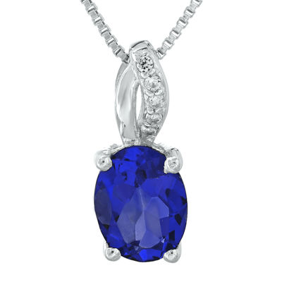 Lab-Created Sapphire and Diamond-Accent Sterling Silver Pendant Necklace