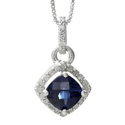 1/8 CT. T.W. Diamond and Lab-Created Sapphire Sterling Silver Drop Pendant Necklace