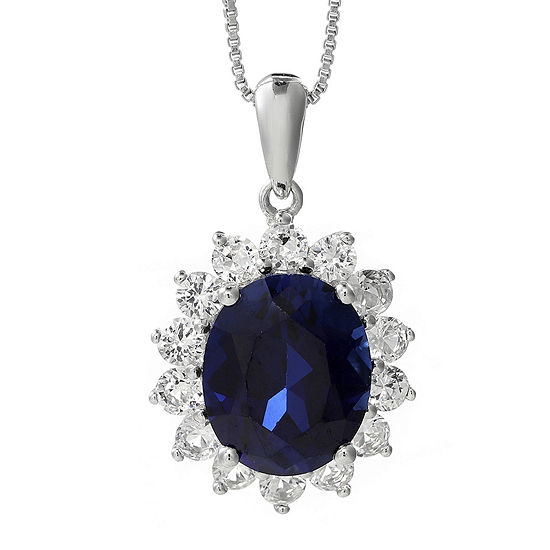 Lab-Created Blue and White Sapphire Starburst Pendant Necklace