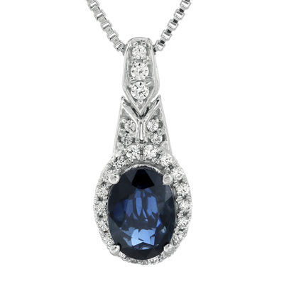 1/6 CT. T.W. Diamond and Genuine Blue Sapphire Sterling Silver Oval Drop Pendant Necklace
