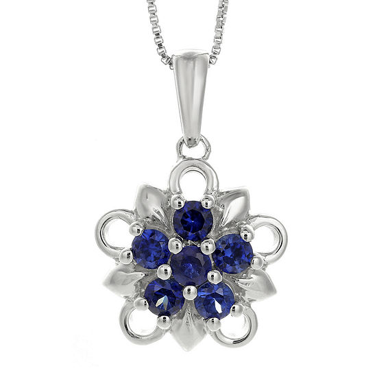 Lab-Created Sapphire Sterling Silver Floral Pendant Necklace
