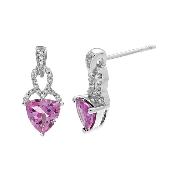 Lab-Created Pink Sapphire and Diamond-Accent Sterling Silver Drop Earrings