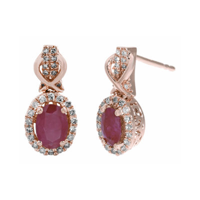1/4 CT. T.W. Diamond and Lead Glass-Filled Ruby 10K Rose Gold Drop Earrings