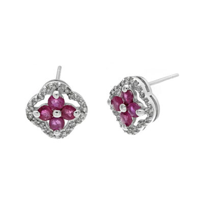 1/7 CT. T.W. Diamond and Lead Glass-Filled Ruby 10K White Gold Flower Earrings