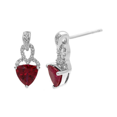 Lab-Created Ruby and Diamond-Accent Sterling Silver Earrings