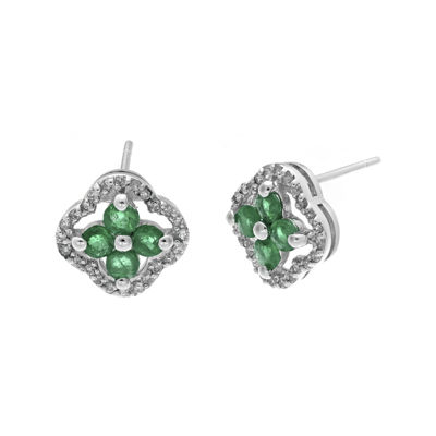 1/7 CT. T.W. Diamond and Genuine Emerald 10K White Gold Flower Earrings