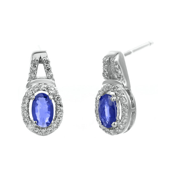 1/7 CT. T.W. Diamond and Genuine Sapphire 10K White Gold Oval Drop Earrings