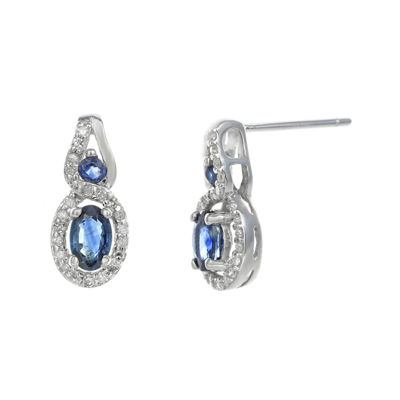 1/7 CT. T.W. Diamond and Genuine Sapphire 10K White Gold Double-Drop Earrings