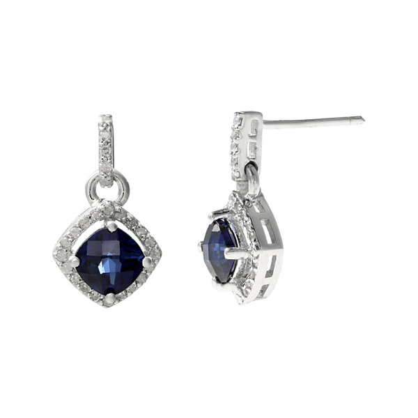 1/7 CT. T.W. Diamond and Lab-Created Sapphire Sterling Silver Drop Earrings