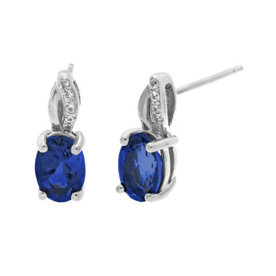 1/10 CT. T.W. Diamond and Lab-Created Sapphire Sterling Silver Drop Earrings