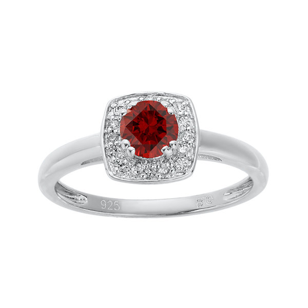 Genuine Garnet and White Topaz Sterling Silver Ring