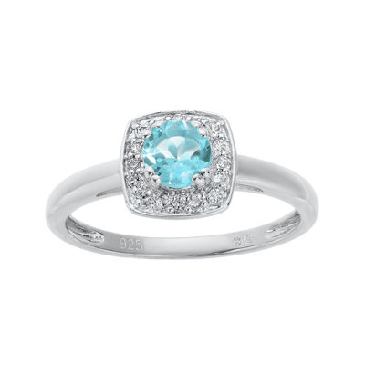 Lab-Created Aquamarine and Genuine White Topaz Sterling Silver Ring