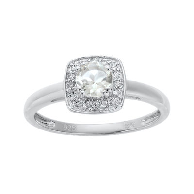 Genuine White Topaz Sterling Silver Ring