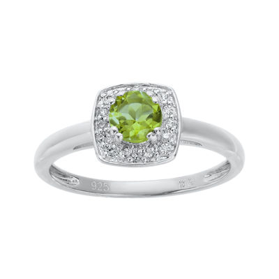 Genuine Peridot and White Topaz Sterling Silver Ring