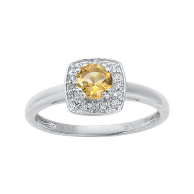 Genuine Citrine and White Topaz Sterling Silver Ring