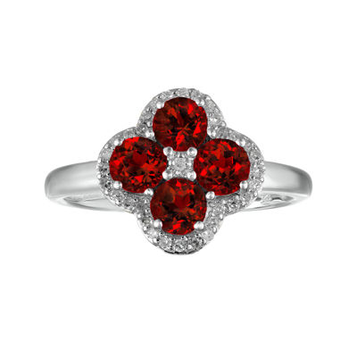 Genuine Garnet and White Topaz Flower Sterling Silver Ring
