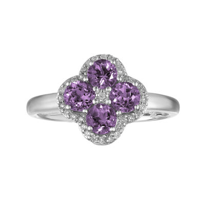 Genuine Amethyst and White Topaz Flower Sterling Silver Ring