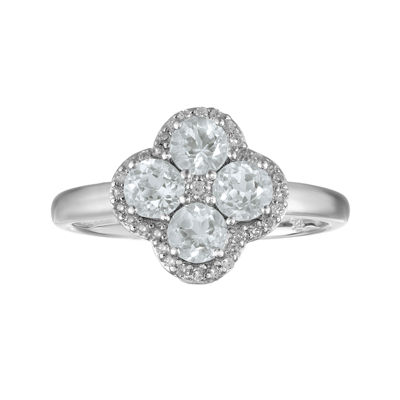 Genuine White Topaz Flower Sterling Silver Ring