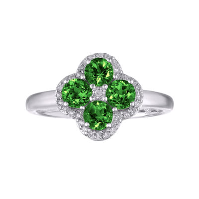 Lab-Created Emerald and White Topaz Flower Sterling Silver Ring