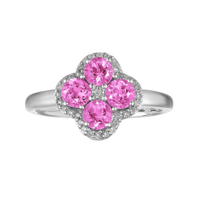 Lab-Created Pink Sapphires and White Topaz Flower Sterling Silver Ring