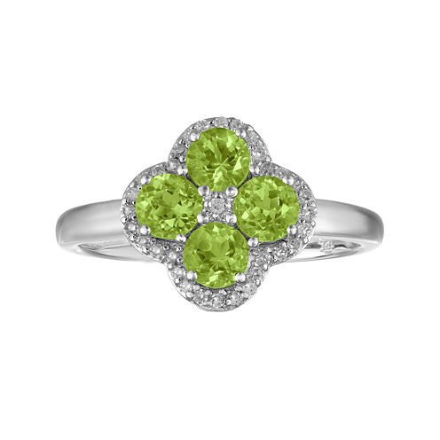 Genuine Peridot and White Topaz Flower Sterling Silver Ring